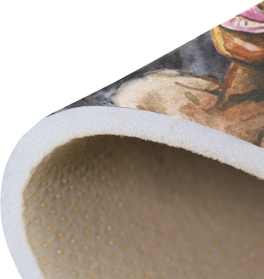 20 x 31 Inches // 50 x 80 cm Naanle Africa Non Slip Area Rug for Living Dinning Room Bedroom Kitchen Watercolor American Girls Nursery Rug Floor Carpet Yoga Mat 1.7  x 2.6