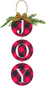 Christmas Decoration JOY Wall Sign, Buffalo Check Plaid Wreath for Front Door Rustic Burlap Wooden Christmas Ornaments for Home Window Wall Farmhouse Indoor Outdoor