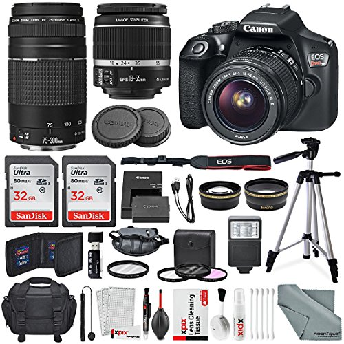 Canon EOS Rebel T6 DSLR Camera with EF-S 18-55mm f/3.5-5.6 IS II Lens, EF 75-300mm f/4-5.6 III Lens, 64GB, along with Fibertique Cleaning Cloth, and Xpix cleaning Kit and Deluxe Accessory Bundle (Canon Professional Digital Camera)