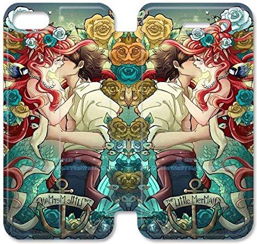 Flip étui en cuir PU Stand pour Coque iPhone 5 5S, bricolage 5 5S Coque Case étui de téléphone cellulaire Disney La Petite Sirène Ariel 8 G2P3YG Effacer Coque iPhone en cuir Plastique