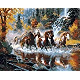 DIY Paint By Number Kits No Blending / No Mixing Linen Canvas Painting - Running Horses