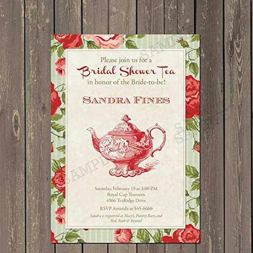 Bridal Shower Tea Party Invitation, Roses Bridal Shower Invitation, Shabby Chic Rose Tea Shower Invitation in Red or Blue