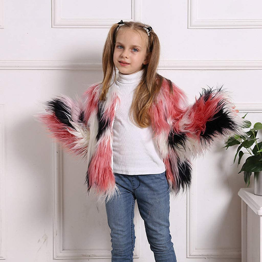WARMSHOP Kids Baby Girls Winter Warm Fluffy Soft Plush Faux Fur Toddler Skirt Windproof Splice Coat 2-10 Years