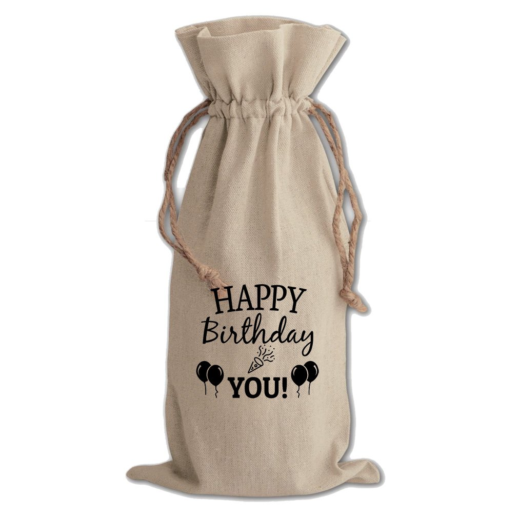 Happy Birthday To You #2 Cotton Canvas Wine Bag, Cotton Drawstring Wine Pouch