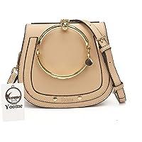 Yoome Elegant Rivets Punk Style Circular Ring Handle Handbags Cute Lune Satchel Round Bracelet Wristlet Crossbody Bags for Girls