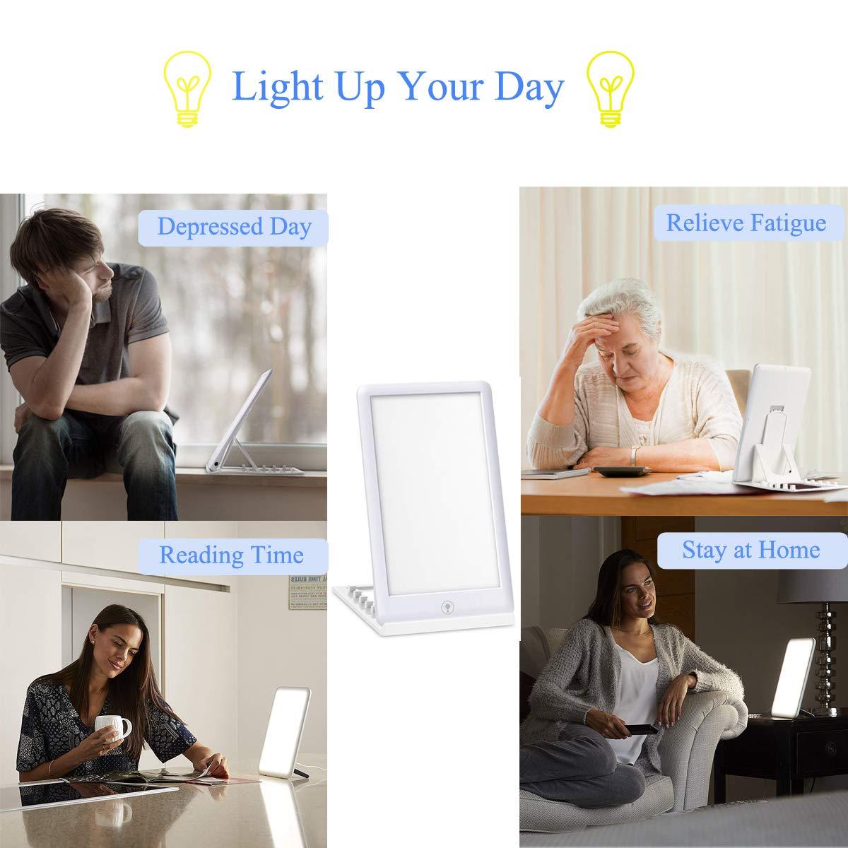 10 000 Lumens LED Lampe R/églable Lumi/ère du Jour Une Touche, Sans UV avec Support Pour D/épression Saisonni/ère MINCHEDA Portative Lampe de Luminoth/érapie