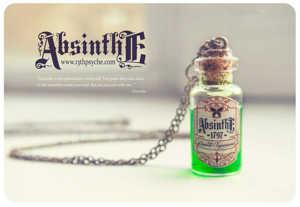 Dracula-Anh/änger Halskette Glas Flasche Pendant.Potion Flasche Miniatur Flasche Absinth Flasche Halskette Absinth Glas Vial Halskette