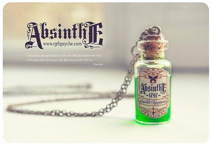 Collar de la botella de Absenta. Botella de Absinthe, collar de frasco de vidrio