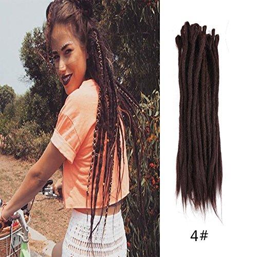 HAIQUAN Handmade Dreadlocks Extensions Reggae Hair Dark Brown 20