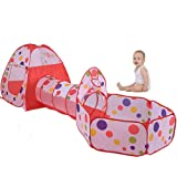 Suidcsui Kids Play Tent Set and Tunnel Portable Indoor Outdoor Playhouse Toys Toddlers Ball Pit Pool