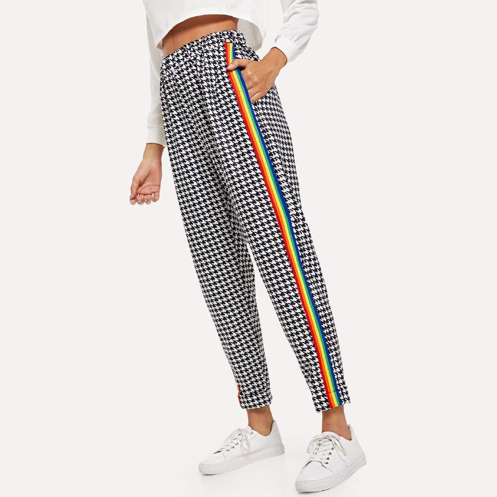 AmyGline Damen Hosen Regenbogen Gestreifte Hose Mid Waist Kordelzug Taille Ringer Yoga Lange Hosen Sommerhose Sweatpants Freizeithose