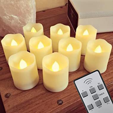 NEW VERSION【Timer】Flickering Flameless LED Tea Light Candles,9-Batteries Included,300+ Working Hours, Electric Plastic Fake Tealights Candles, Realistic, Unscented LED Votive Candles, Yellow Light