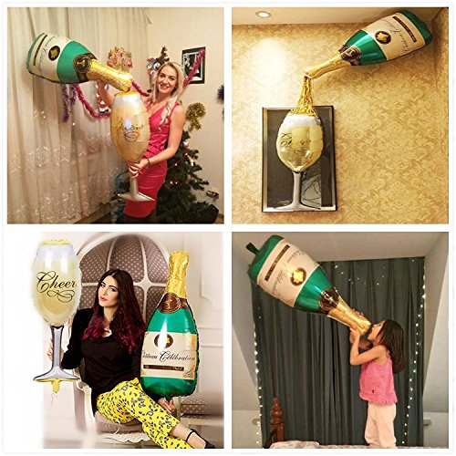 Emivery Party Balloons Champagne Bottle and Goblet Hydrogen Balloons For Party, Anniversary, Engagement Decorations -