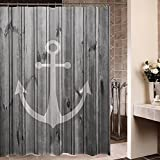 Anchor Shower Curtain ZBLX Waterproof Decorative Rustic gray Anchor shower curtain 60 x 72inch