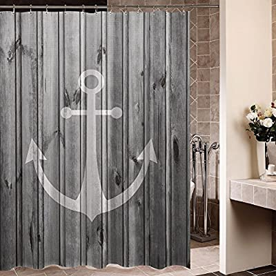 """ZBLX Waterproof Decorative Rustic gray Anchor shower curtain 60 x 72inch - Image absolutely clear, bright, and you will love it.Fabric Polyester : Durable and No fade shower curtain nautical Size:60""""*72""""(h) .Function: waterproof 100% Brand New and High Quality (100% polyester) YOU WILL GET:1 shower curtain,Not Included Rod ,12 FREE Shower curtain rings. - shower-curtains, bathroom-linens, bathroom - 61cnER2CrUL. SS400  -"""