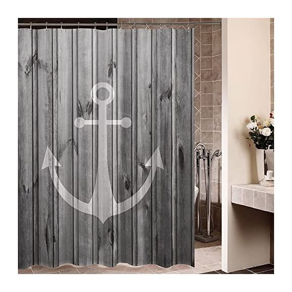 "ZBLX Waterproof Decorative Rustic gray Anchor shower curtain 60 x 72inch - Image absolutely clear, bright, and you will love it.Fabric Polyester : Durable and No fade shower curtain nautical Size:60""*72""(h) .Function: waterproof 100% Brand New and High Quality (100% polyester) YOU WILL GET:1 shower curtain,Not Included Rod ,12 FREE Shower curtain rings. - shower-curtains, bathroom-linens, bathroom - 61cnER2CrUL. SS570  -"