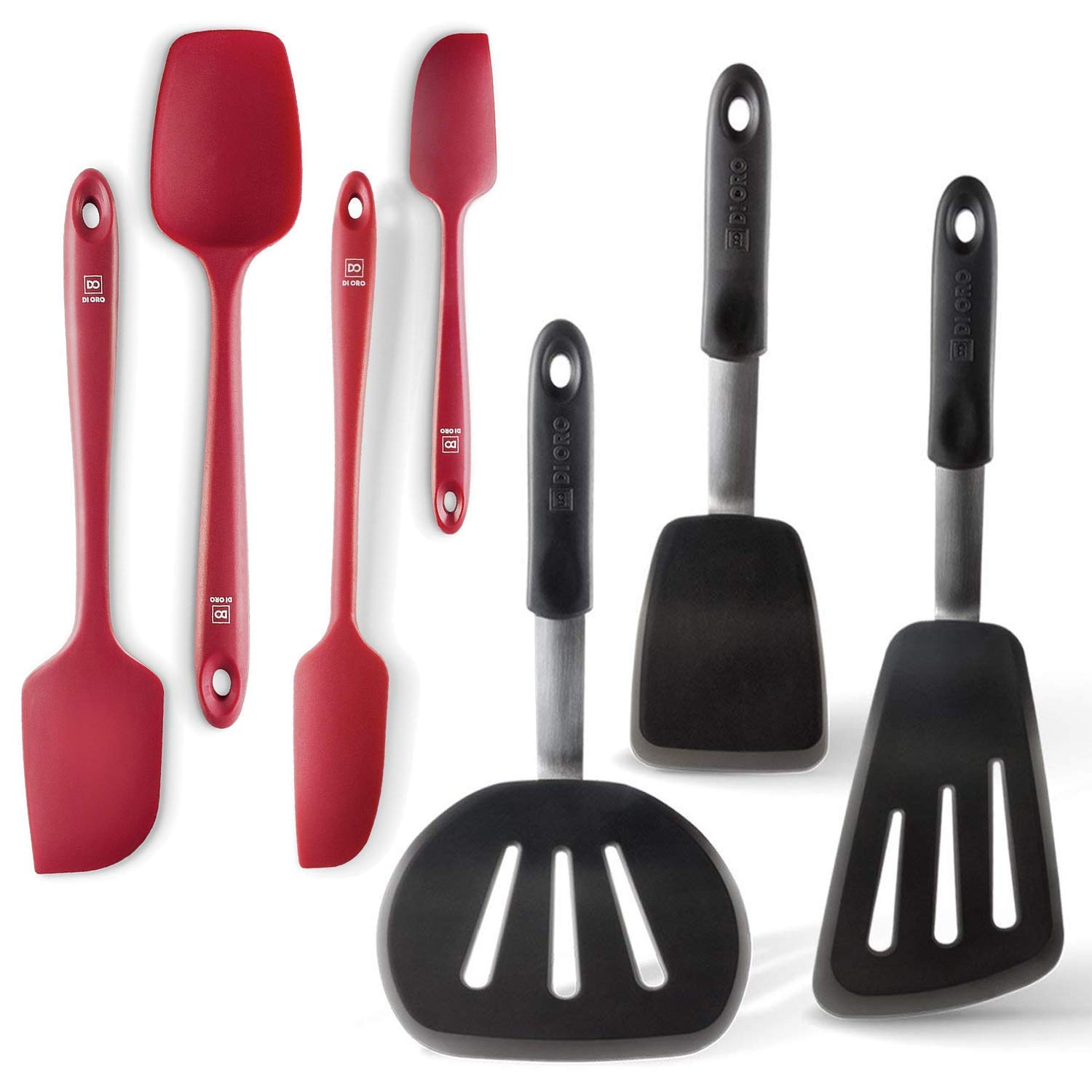 Di Oro Chef's Choice 7-Piece Silicone Spatula Set - 600F Heat-Resistant Rubber Spatulas - 3 Turner Spatulas and 4 Seamless Spatulas - Silicone Kitchen Utensil Set for Cooking and Baking (Red), 7-Pc) by di Oro Living