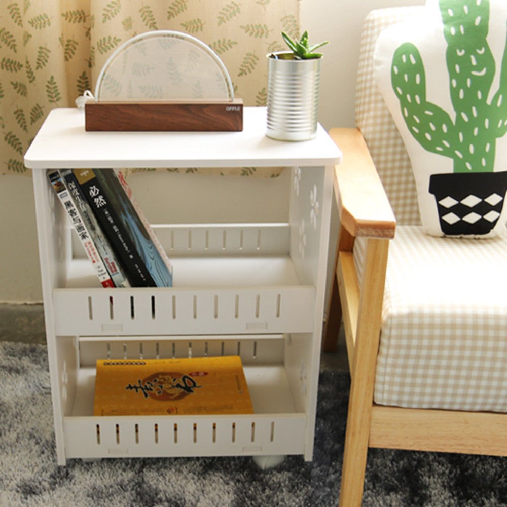 TimmyHouse Side End Table Chairside Snack Storage Table Stand with 2 Shelf End Shelf White