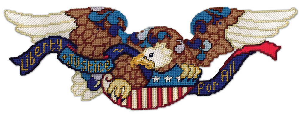 Design Works Crafts 2263 Door Topper, Liberty & Justice Eagle, 9 x 24 Plastic Canvas