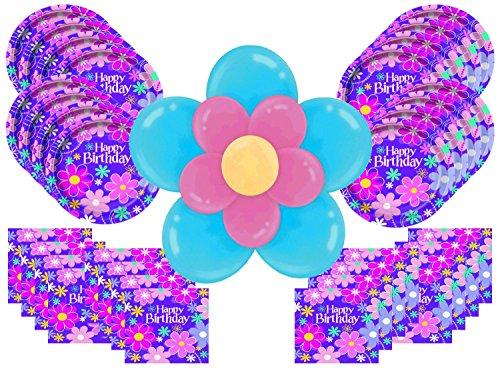 Purple Pink Flower Happy Birthday Party Supplies Bundle Pack for 16 Plus Large Flower Balloon (Pink Purple Flower)