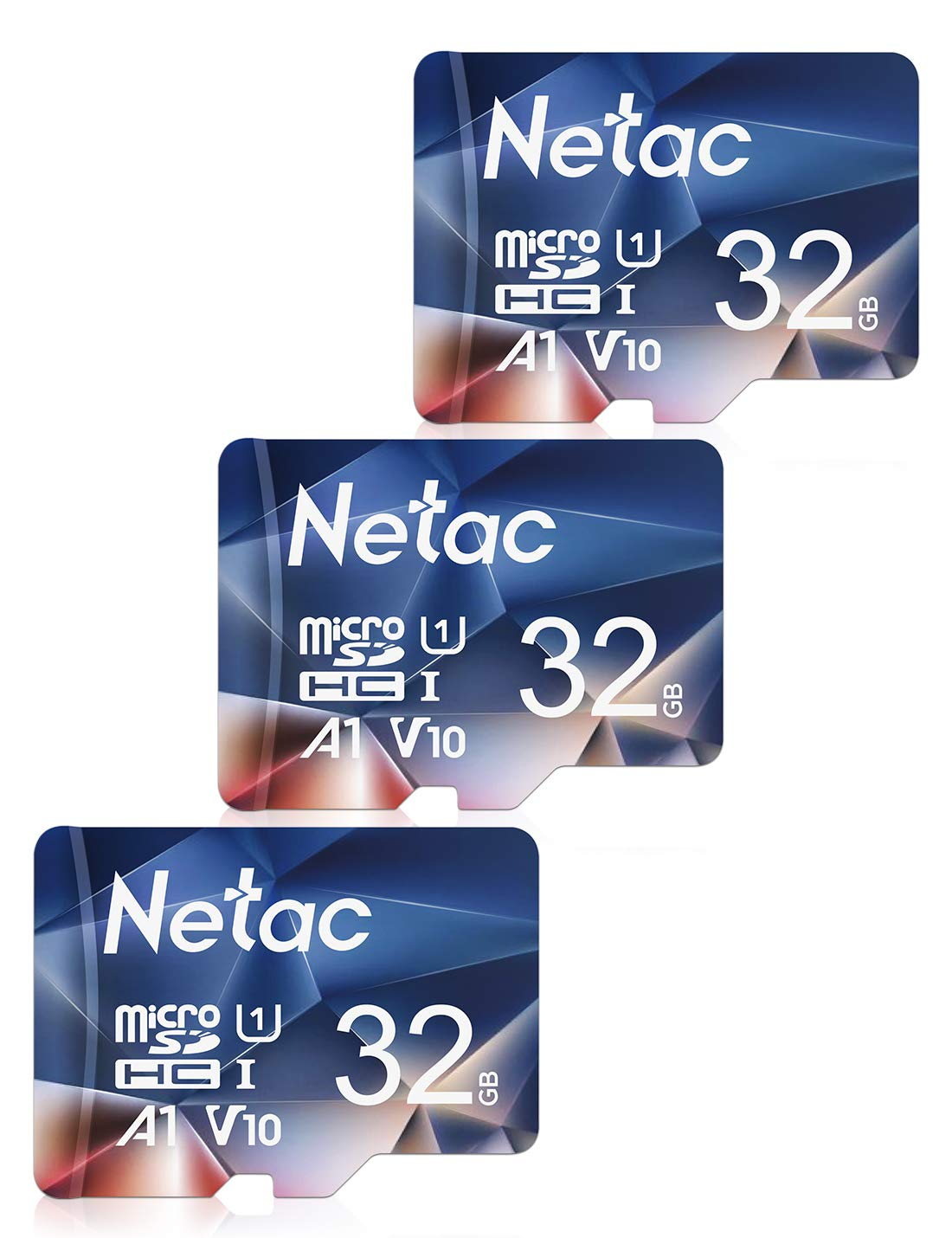 Netac 32GB Micro SD Memory Card 3 PCs, MicroSDHC Card UHS-I, 90/10MB/s(R/W), 600X, C10, U1, A1, V10, Full HD, TF Card for Camera, Smartphone, Security System, Drone, Dash Cam, Gopro, Tablet