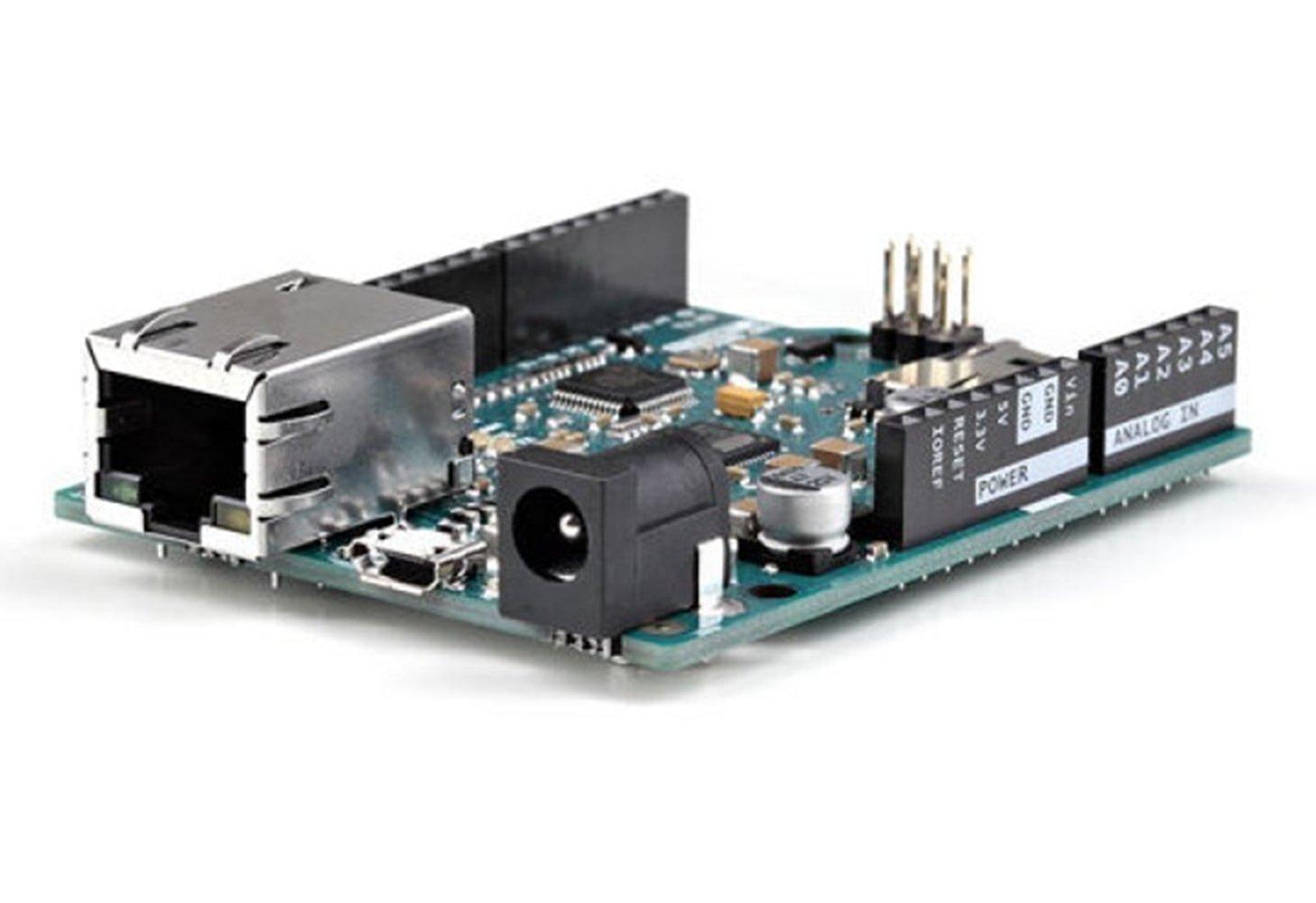 DF Leonardo ETH/16 Mhz Crystal Oscillator, A RJ45 Connection, A Micro USB Connector, A Power Jack, An ICSP Header, And A Reset Button