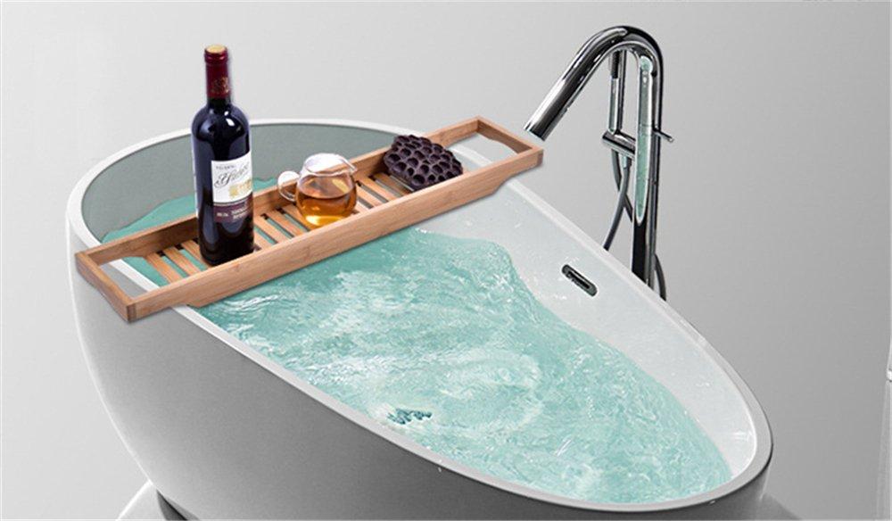 Vassoio Vasca Da Bagno : Vassoio in bambù per vasca da bagno con lati estensibili supporto