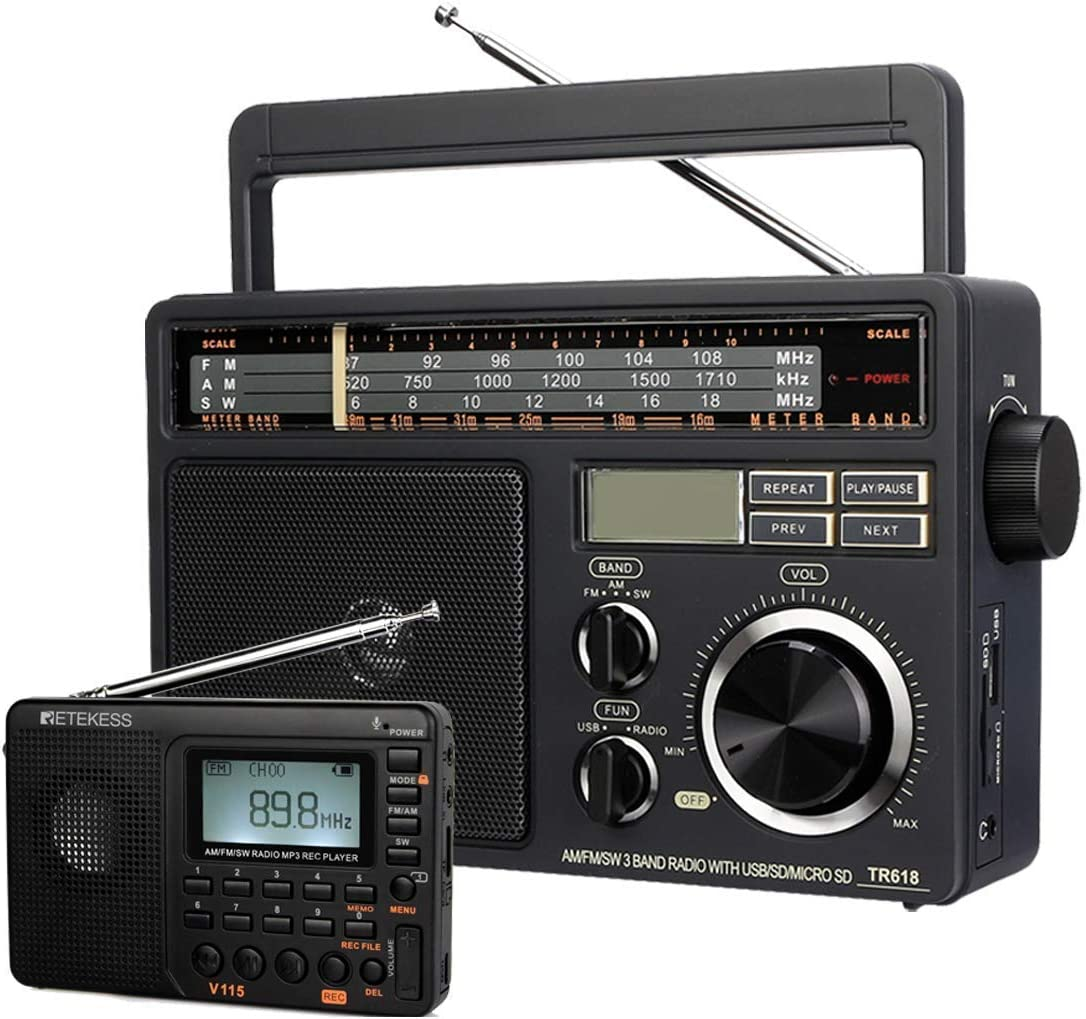 Retekess V115 Digital AM FM Radio, Portable Shortwave Radio, Support TF Card and Recording, and TR618 Tabletop Shortwave Radio, Personal AM FM SW Radio, Powered by AC or D Battery