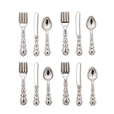 Odoria 1:12 Miniature 12Pcs Silver Knife Fork Spoon Cutlery Set Dollhouse Kitchen Accessories: Toys & Games
