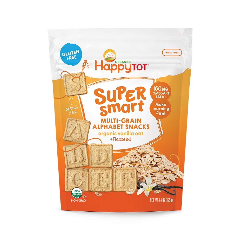 Happy Tot Super Smart Alphabet Snacks Organic Toddler Snacks, Vanilla Oat Plus Flaxseed, 8 Count