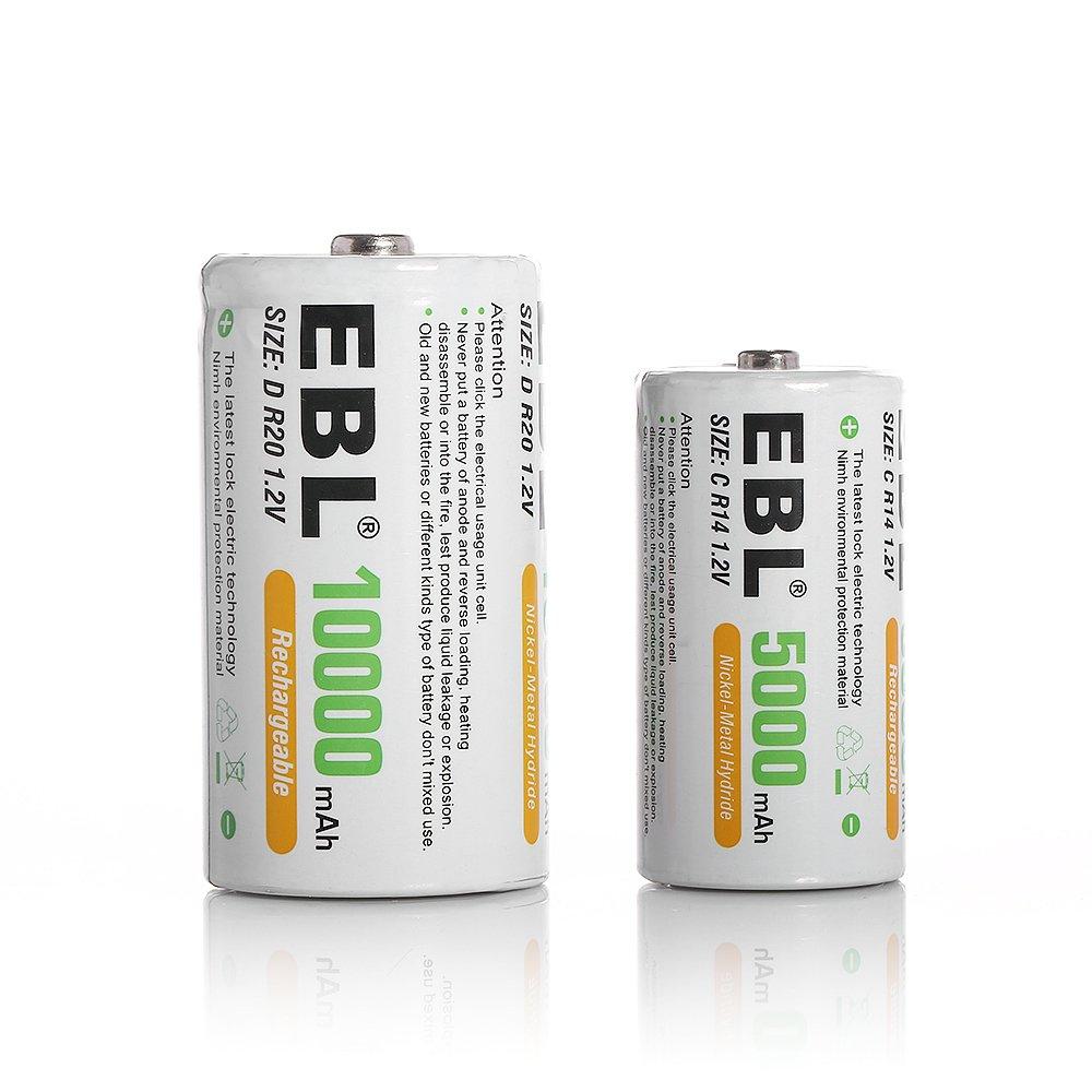 EBL 2 Pack 5000mAh C + 2 Pack 10000mAh D Rechargeable Batteries