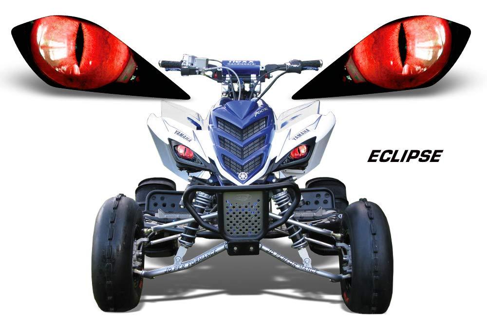 AMR Racing ATV Headlight Eye Graphic Decal Cover for Yamaha Raptor 700/250/350 - Eclipse (Red)