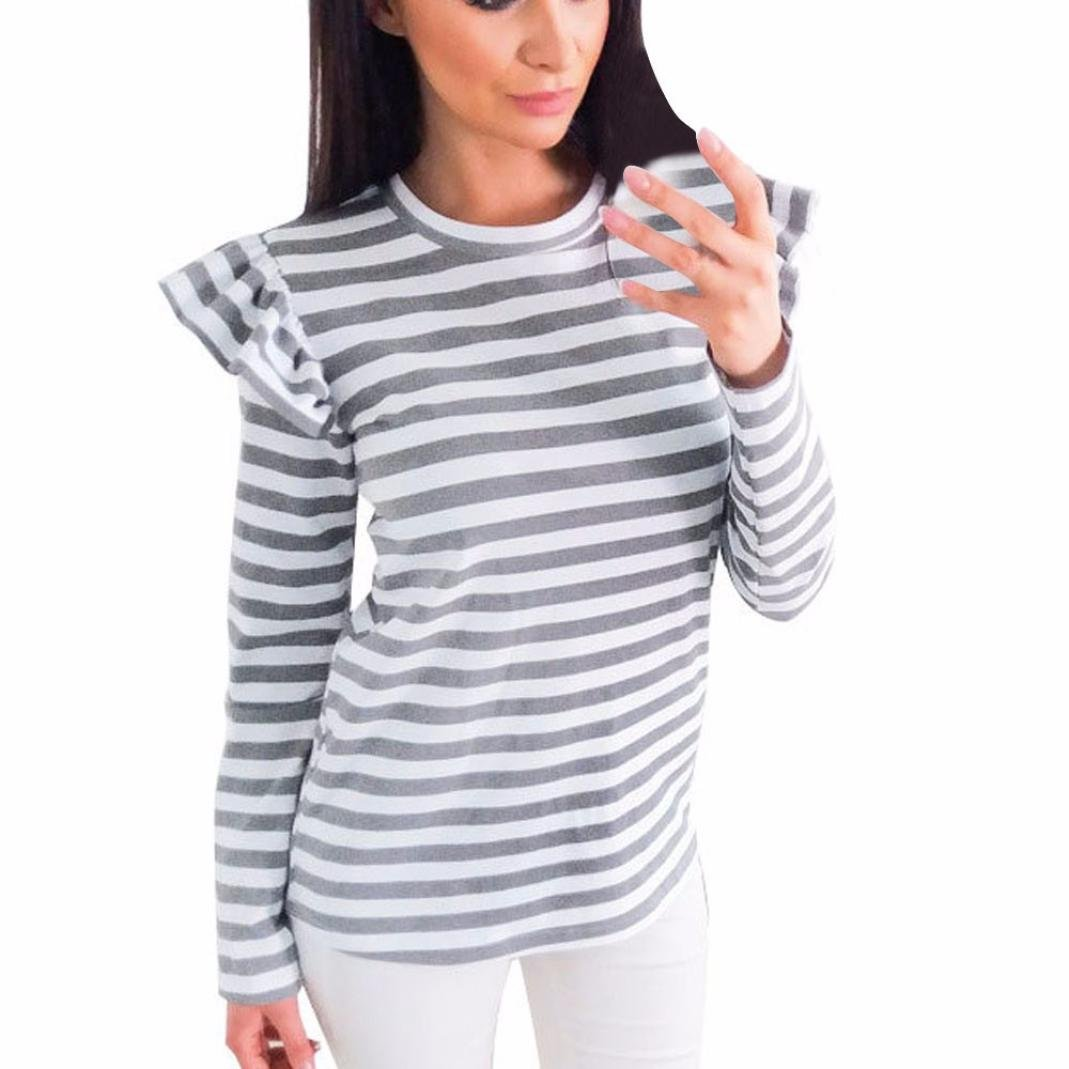 Challyhope Women Fashion Striped Shirt Pleated Long Sleeve Blouse Casual O Neck Tops (M, Gray)