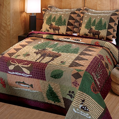Greenland Home Moose Lodge Quilt Set, Queen, Natural (Furniture Nh Rustic)