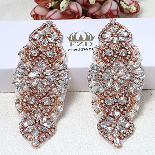 2 Pieces Rhinestone Applique, FANGZHIDI Small Beaded Trim Embellish with Pearls and Silver Clear Stones. Perfect for DIY on Wedding Accessories, Bag Decor, Flower Girl Basket, Bridal Dress Belt Sash ()
