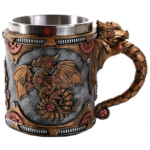 Mug Dragon - Steampunk Mechanical Gearwork Dragon Beer Stein Tankard Decor Gift 13oz
