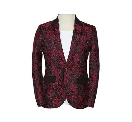 GOMY - Chaqueta de Vestir para Hombre, diseño de Flores, Ajuste Delgado, Estilo