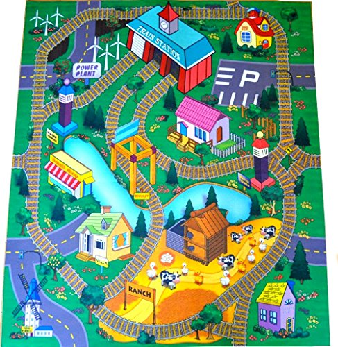 Train Station Felt Play Mat with Train Tracks and Road Design