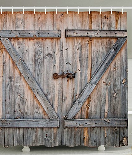 Rustic Country Barn Wood Door Bath Shower Curtain, YIGER Mildew Resistant Waterproof Old Wooden Garage Door Digital Printing Polyester Antique Theme with Adjustable Hook 70.86×70.86 Inch (Rustic Shower)