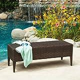 Hobbes Multibrown Outdoor Wicker Bench