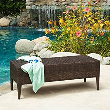 Hobbes Multibrown Outdoor Wicker Bench