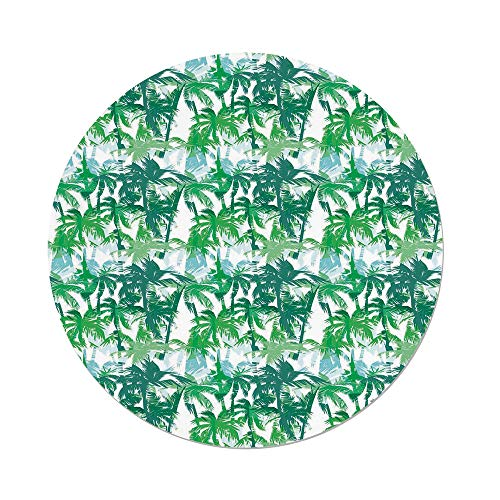 iPrint Polyester Round Tablecloth,Palm Leaf,Exotic Fantasy Abstract Coconut Tree Silhouettes Green Jungle,Forest Green Lime Green White,Dining Room Kitchen Picnic Table Cloth Cover,for Outdoor Indoor