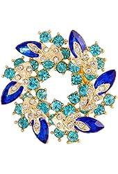 Valdler Fashion Jewelry Fancy Vintage Rhinestone Bling Crystal Bauhinia Flower Brooch Pin