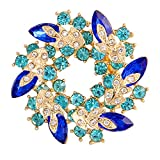 (US) Valdler Fashion Jewelry Fancy Vintage Rhinestone Bling Crystal Bauhinia Flower Brooch Pin broach Bling (Blue)