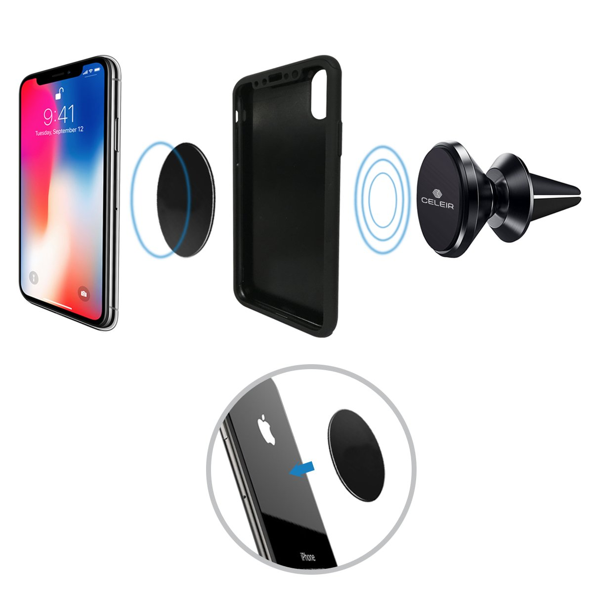 Note 9//S9// .. Celeir Magnetic Phone Mount for Car Including iPhone Xs MAX//XR//XS//X//8 Plus Best Magnetic Phone Mount and Holder for 2018 Gps Universal Magnetic Phone Mount and Holder for any Phone