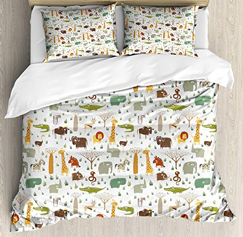 Savannah Four Light Bath - Cartoon Animal Duvet Cover Set King Grunge African Savannah Fauna Childhood Theme Safari Funny Wildlife Pattern Bedding Set 4 Piece Lightweight Bed Comforter Covers Includes 2 Pillow Shams