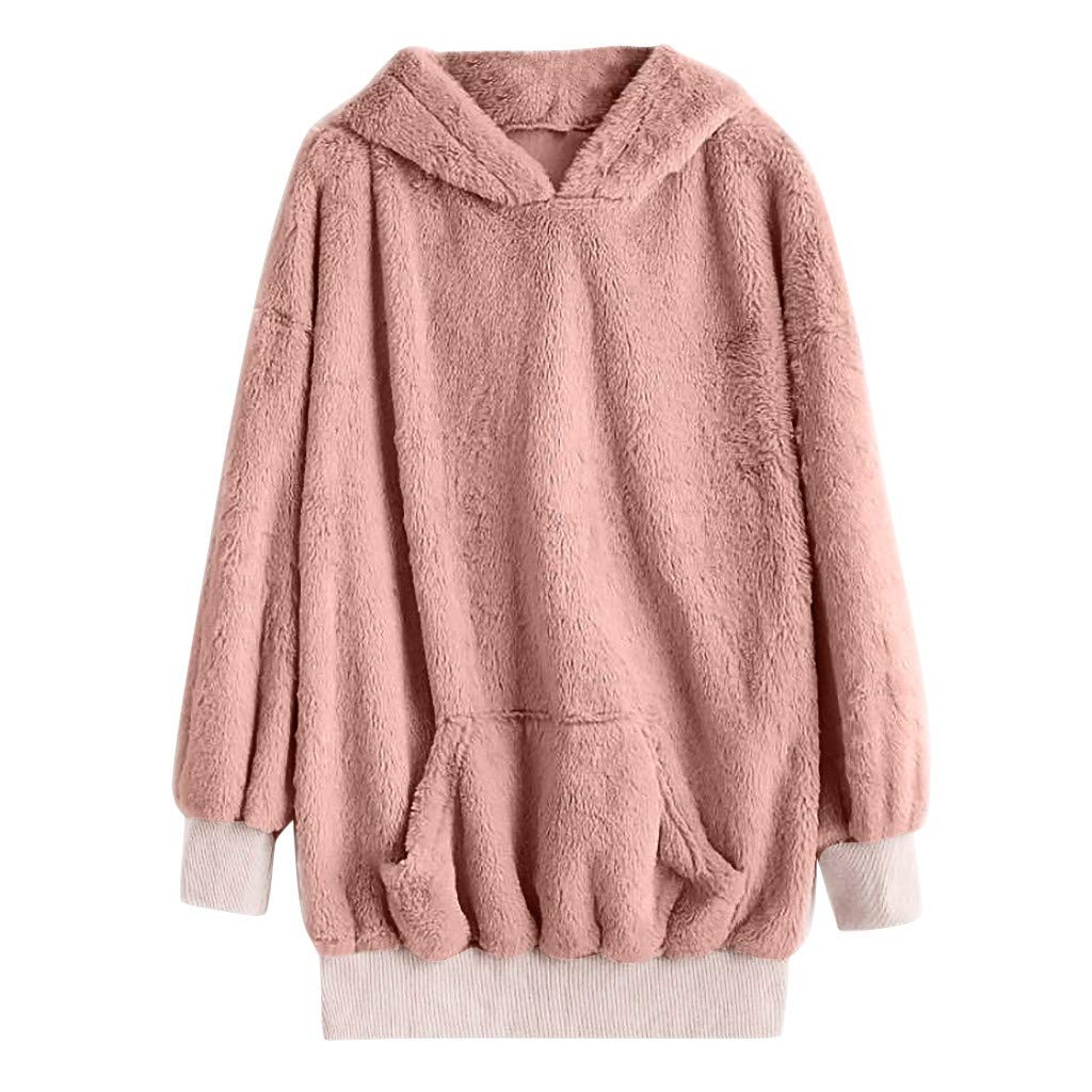 SADUORHAPPY Women's Autumn Winter Solid Color Long-Sleeved Sweater Hoodie Plush Sweater Top with Pocket Pink by SADUORHAPPY Sweatshirts