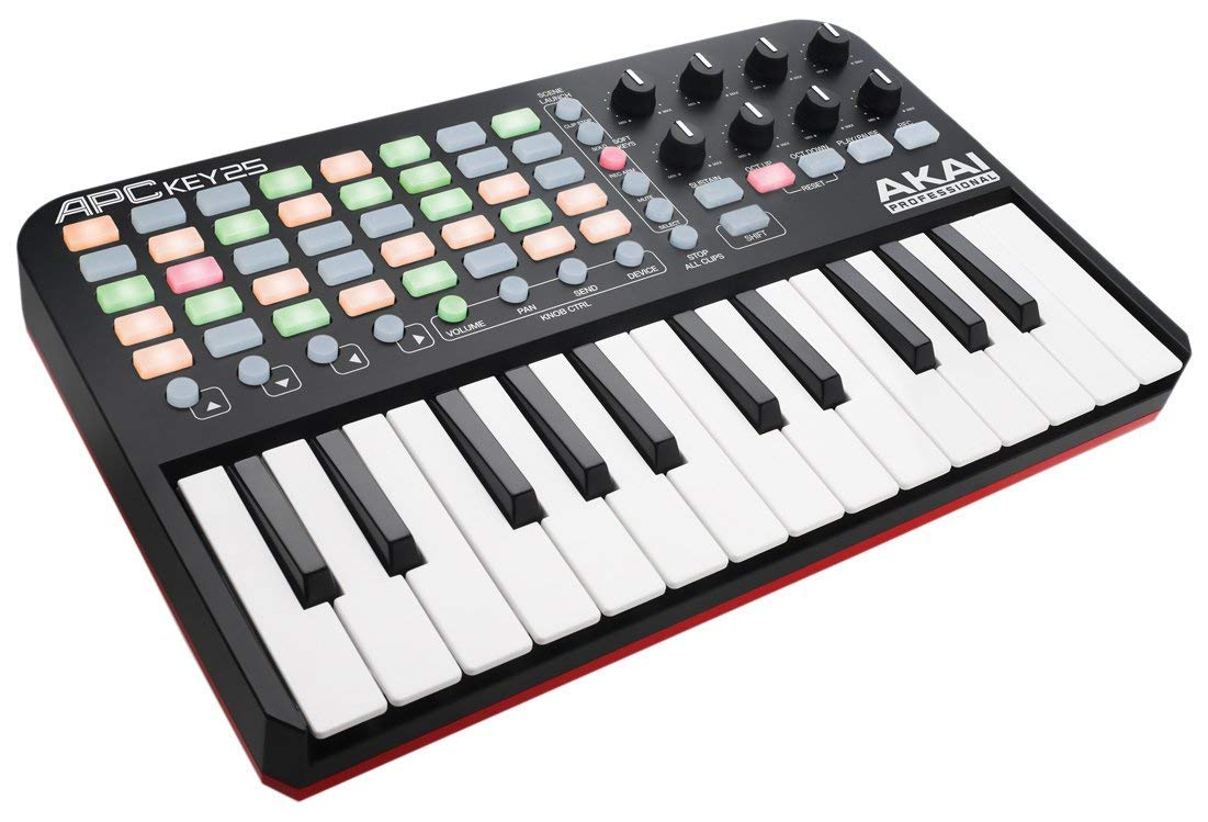 Akai Professional APC Key 25 | Compact USB Bus-Powered 40-Button Clip Launcher for Ableton Live with 25-Note MIDI Keyboard and 8 Fully-Assignable Q-Link Controls plus VIP 3.0 and Software Package by Akai Professional