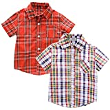 Juze Baby Boys Casual Western Plaid Button Down Short Sleeve Shirt 2-Pack 6T