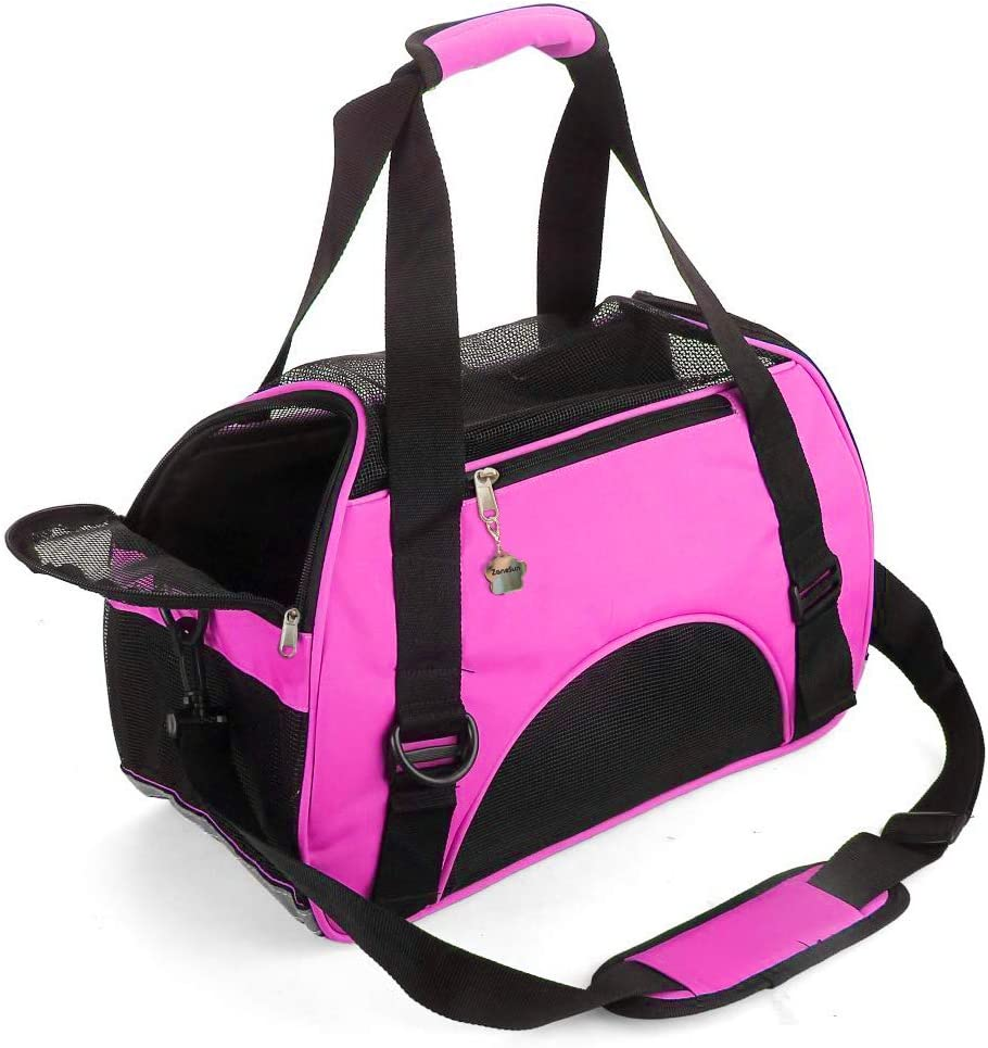 ZaneSun Cat Carrier,Soft-Sided Pet Travel Carrier for Cats,Dogs Puppy Comfort Portable Foldable Pet Bag Airline Approved